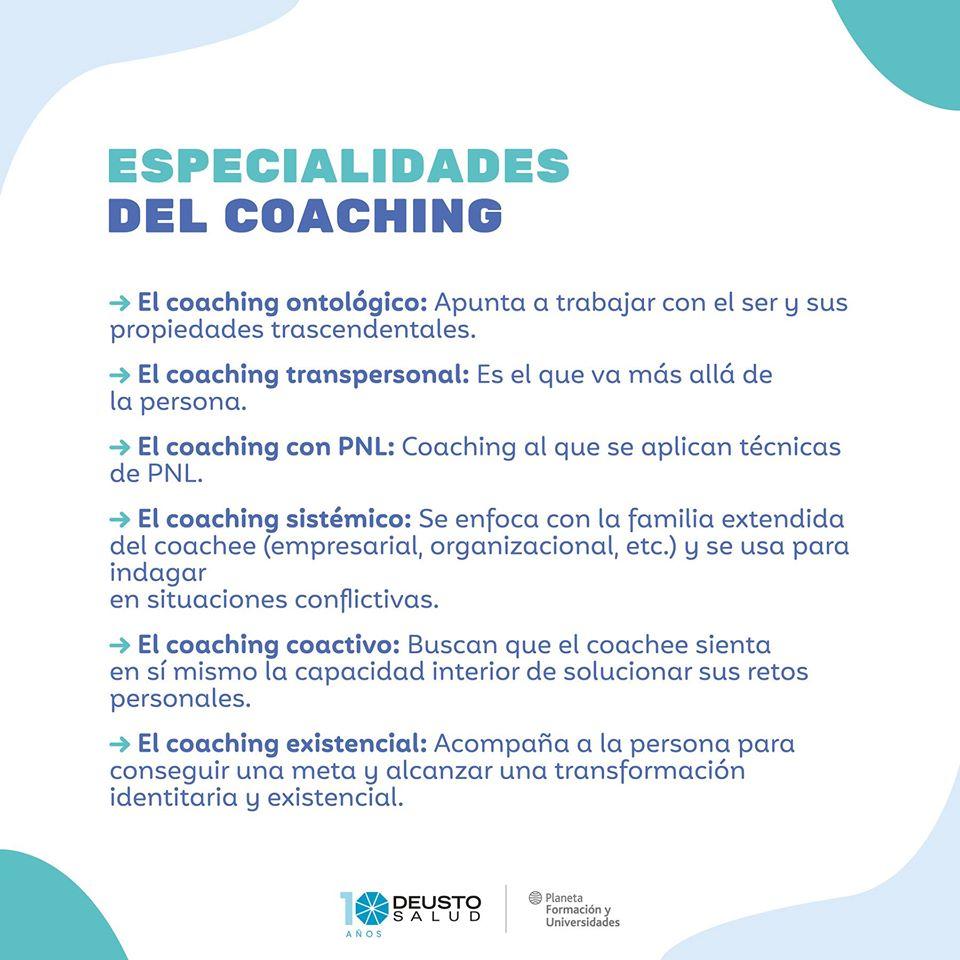¿Cuáles son las especialidades del coaching?